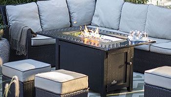 outdoor rectangle fire pit with couch seating