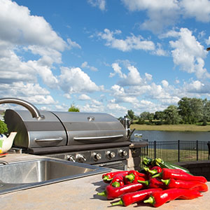 Outdoor Kitchen with Gas Grill and Red Peppers with Lake View