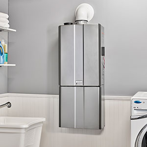 Rinnai Tankless Water Heater in Laundry Room Saving on Space