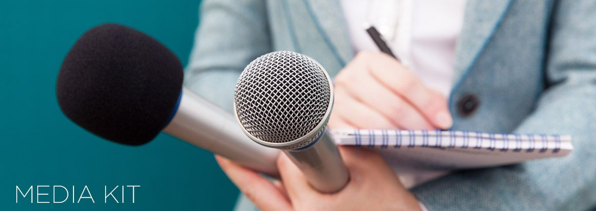 Person Holding Tablet and Microphones as the Media Kit Page Header
