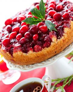 A close up side view shot of a holiday upside down cranberry cake.