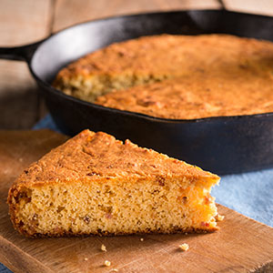 Skillet Cornbread with Slice Cut Out