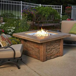 outdoor greatroom sierra fire pit table square burner on Patio