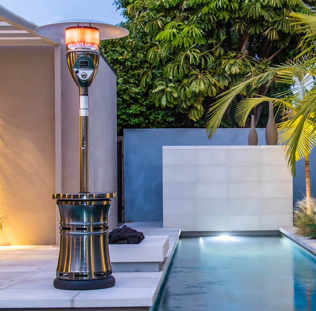 Outdoor Order product Halo - a stylish propane patio heater featured next to a pool