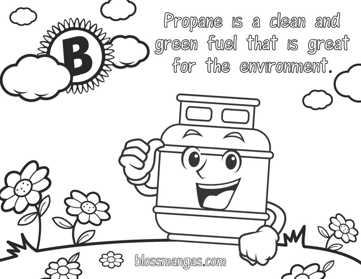 Propane Pete Coloring Page of Sun and Flower and Clean Burning Propane