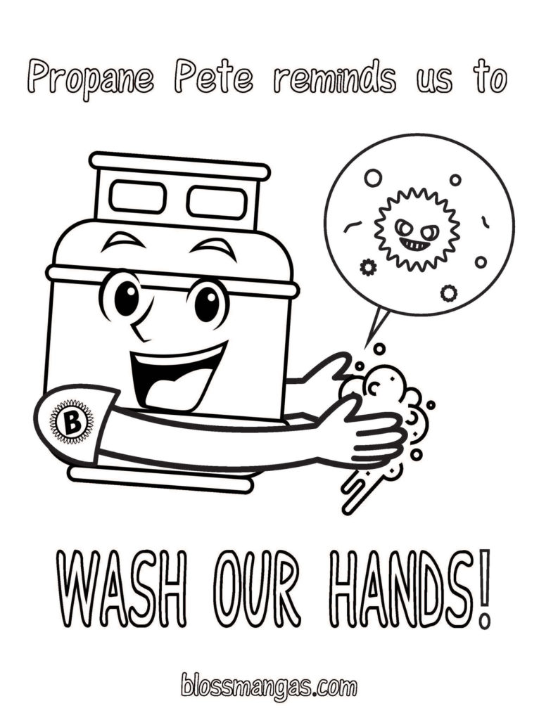 Propane Pete Reminds Us to Wash Hands - Coloring Page