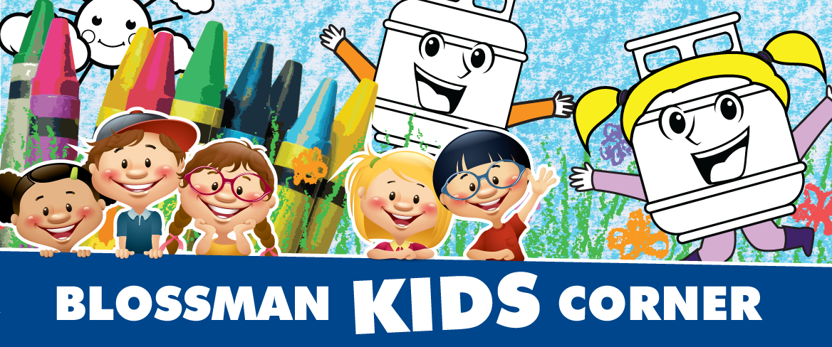 Blossman Kids Corner Header with Cartoon Children and Propane Cylinder Characters