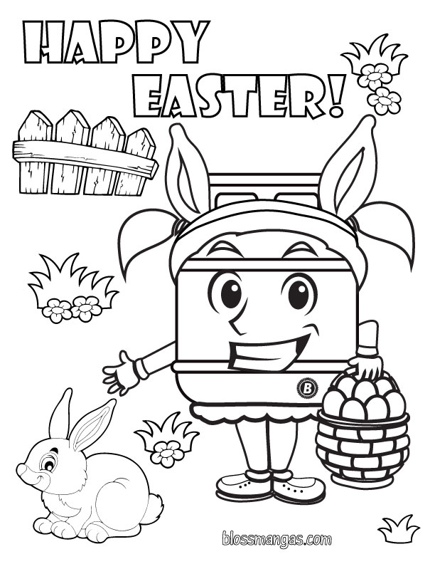 Coloring page of Cyndi Cylinder and Easter Items