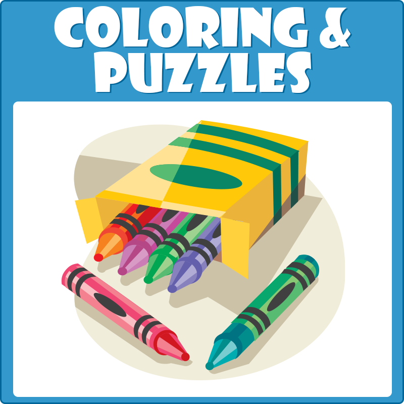 Illustrated crayons with caption Coloring and Puzzles