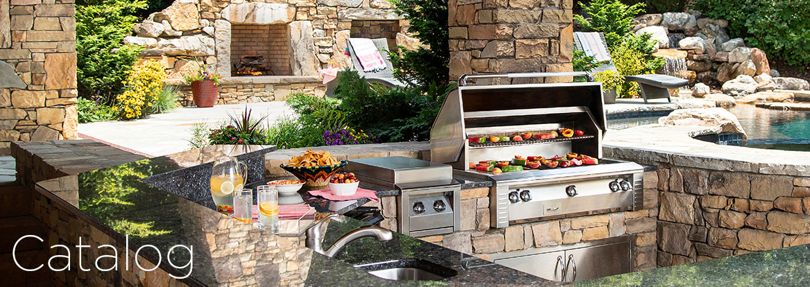 Outdoor Kitchen with food cooking on grill by beautiful stone pool