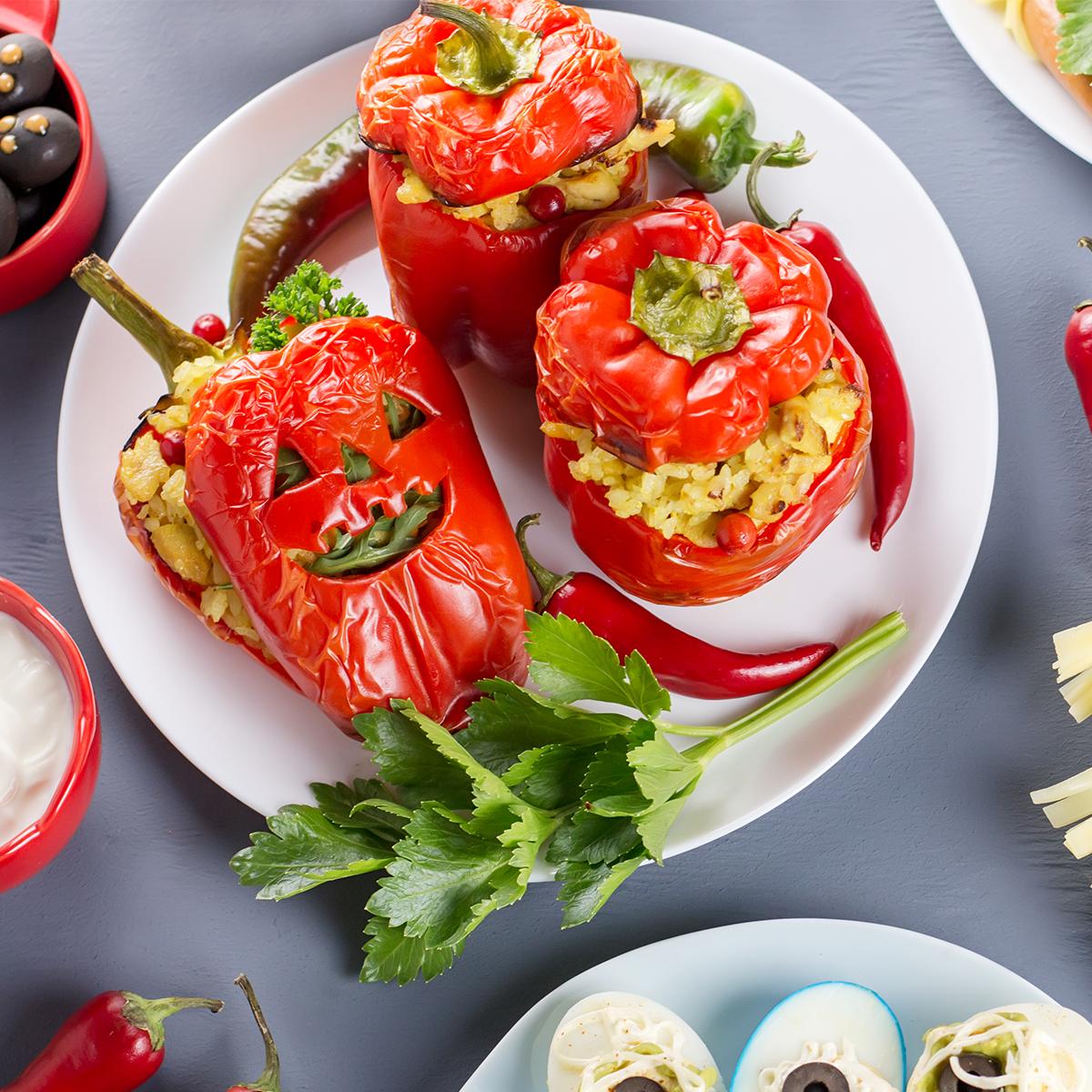 Jack-O-Lantern Stuffed Peppers Recipe