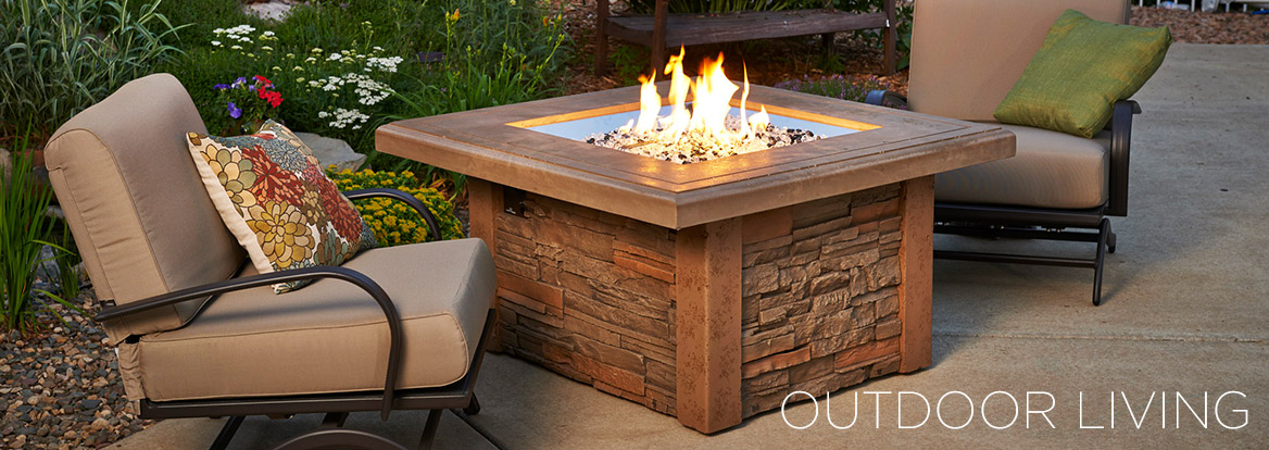 Close up of gas fire pit table from Outdoor GreatRoom